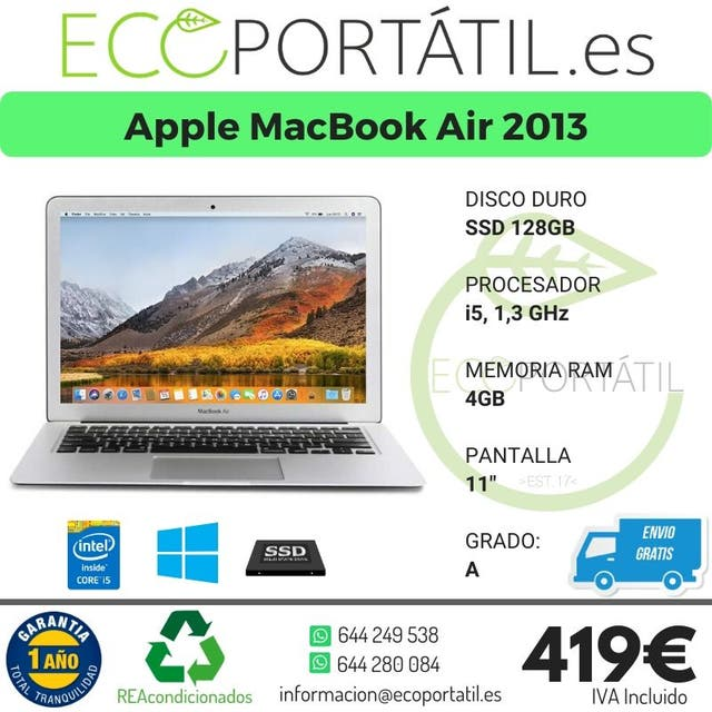 MacBook Air en grado A de 2013