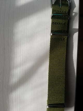 correa reloj 18 mm tela verde khaky