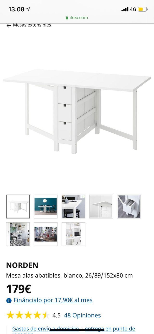 Grado Celsius Molesto yeso  Mesa extensible/plegable Ikea, 26/89/152x80 cm de segunda mano por 110 € en  Madrid en WALLAPOP