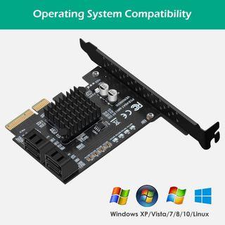 BEYIMIE Tarjeta RAID SATA PCIe de 4 puertos