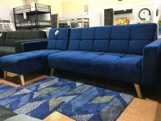 Sofá-cama chaise-longue reversible gris *250cm