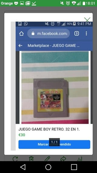 Videojuego compatible GAME BOY 32 en 1.