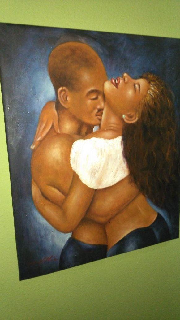 Pintura a oleó Los amantes, un abrazo pasional