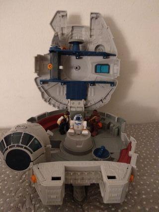nave star wars + 3 personajes