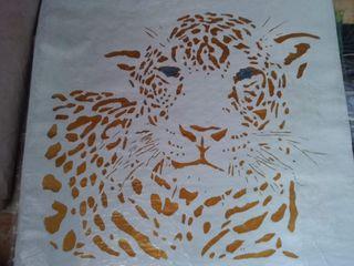 Leopardo, pintura a oleo, moderna y decorativa