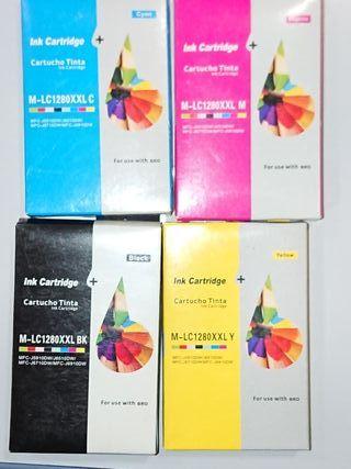 Cartuchos tinta x4 compatibles Brother LC1280