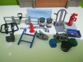 Playmobil mecánica,taller,carretilla,bidones