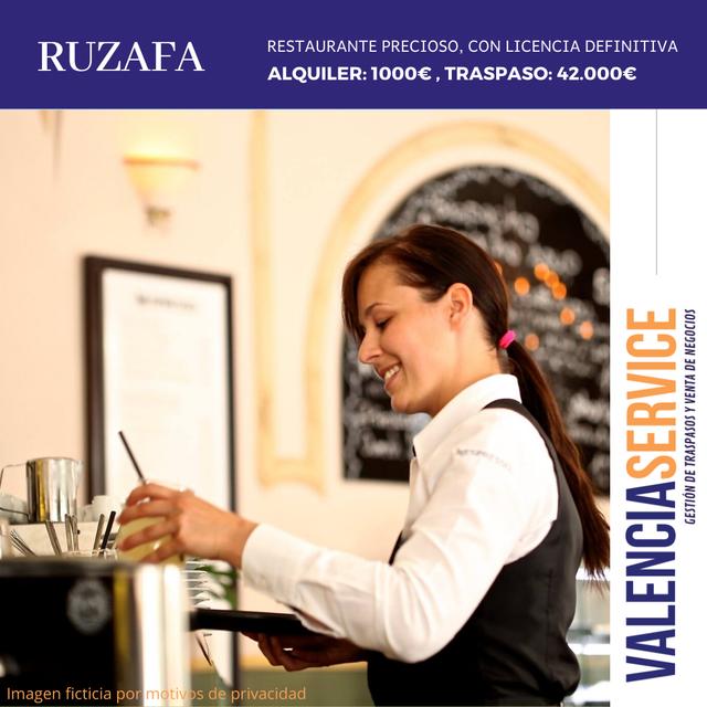Traspaso Restaurante en la Zona de Ruzafa Valencia