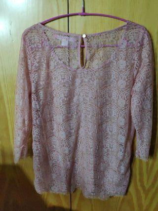 Camisa de encaje rosa de Venca