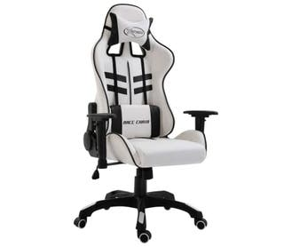 Silla gaming de escritorio blanca PU