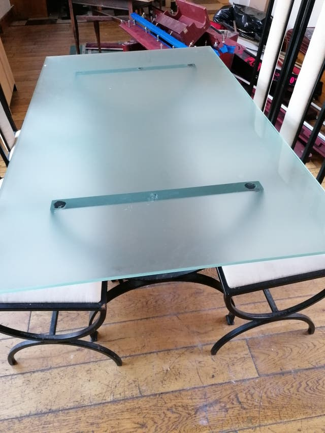 Wrought iron glass table with 4 chairs