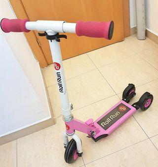 Patinete rosa plegable con opción 3 o 4 ruedas