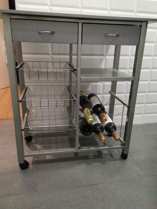 Carrito de cocina gris con botellero y 2 cajones