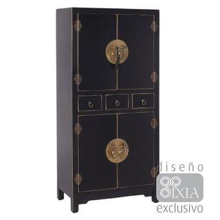 Armario Diseño Oriental Mueble Entrada Negro Oro