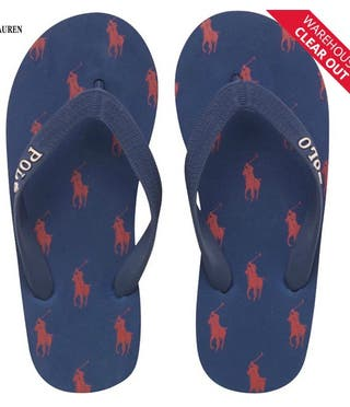 Ralph Lauren Junior Camino Flip Flops Navy/Red