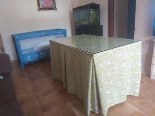 mesa camilla rectangular con estufa