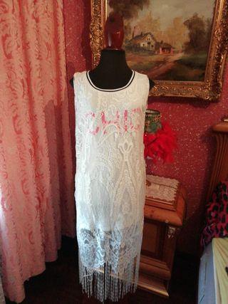 Vestido nuevo Talla L encaje blanco flequillos fle