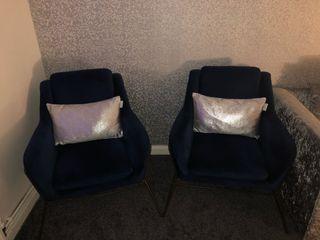 2 next velvet and gold legged chairs