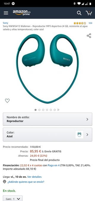 Sony reproductor MP3 deportivo - Cascos deportivos