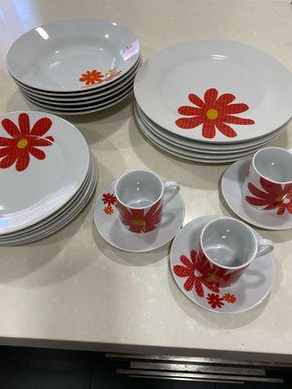 Vajilla 18 piezas REGALO 3 tazas y platos cafe