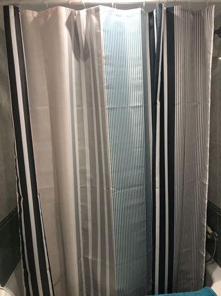 Cortina de ducha con ganchos y barra