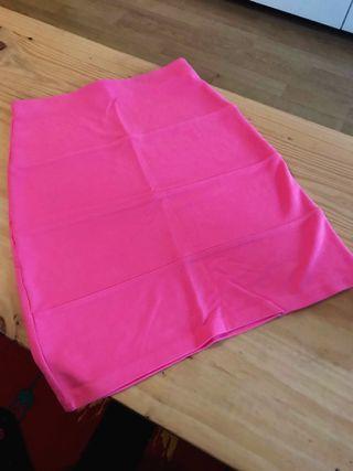 Falda ajustada rosa neon