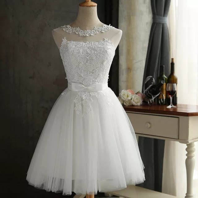 White or Grey Lace bridesmaid dress