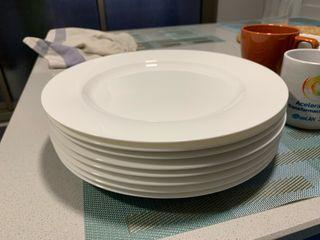 8 x Platos llanos diámetro 26 cm porcelana blanca