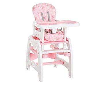 trona plástico blanco y rosa