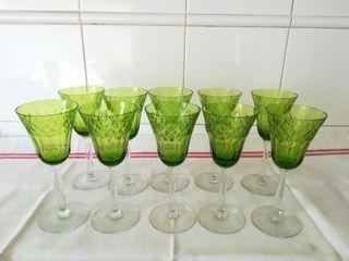 juego de 10 copas de cristal verde labrado