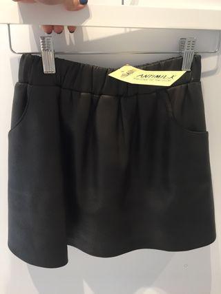 Falda de cuero marrón oscuro talla 12