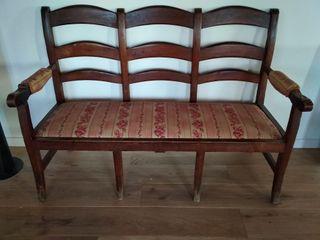 antiguo tresillo sofá banco madera tapizado