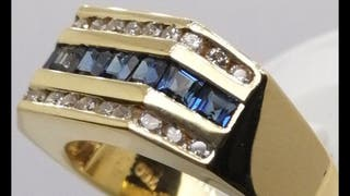 Anillo de oro, diamante y zafiros