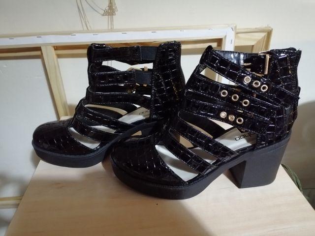 Patented Croc Strappy Block Heels