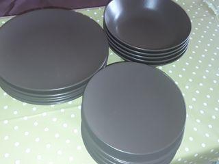 platos de porcelana color chocolate