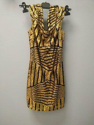 vestido dorado fiesta lentejuelas