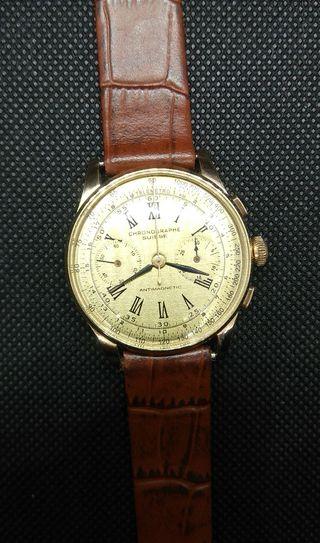 Chronographe Suisse Antimagnetic oro 18 kt