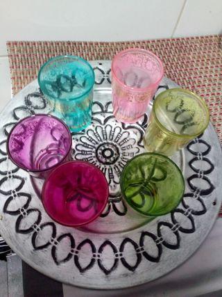 Tetera + Juego de té arabe 6 vasos + bandeja