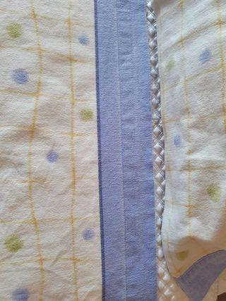 Juego sabanas franela azul y amarillo cama 90cm