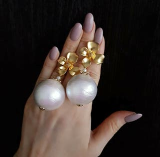 Pendientes de perla de alta calidad joya novia