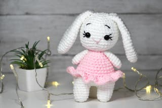 Handmade pink bunny toy