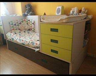 Habitacion bebé cuna convertible dormitorio
