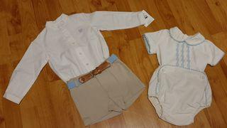 Lote 9 Lote con 2 conjuntos de bebé con pantalon c