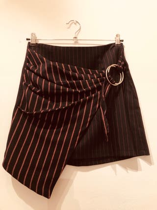 Falda tejido combinado asimétrica talla 38