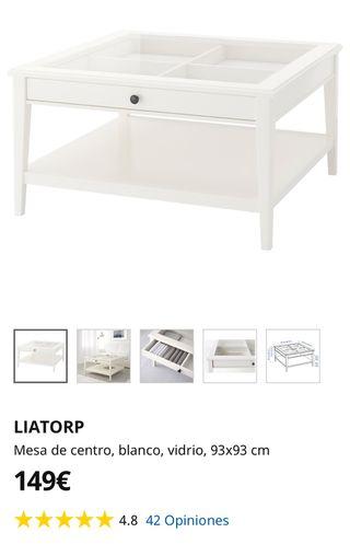 LIATORP Mesa de centro, blanco, vidrio, 93x93 cm