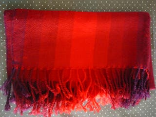 Foulard mujer - Rojo / granate - Flecos - Abrigado