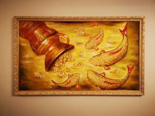 "Pintura al óleo 130x80cm""Goldfish & Lost Treasure"""
