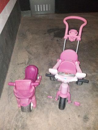 Moto correpasillos y triciclo de paseo