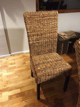 8 sillas de comedor de rafia