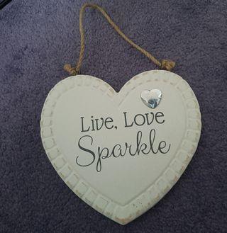 Live Love Sparkle Heart Sign